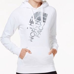 the north face hoodie • white/silver